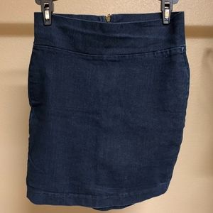 High waist stretchy jean pencil skirt
